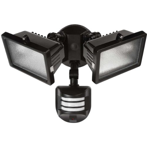 Globe Electric 79126 300-watt Twin Lamp Halogen Motion Sensor Outdoor Flood Light Fixture with  Light Bulbs Included, Black