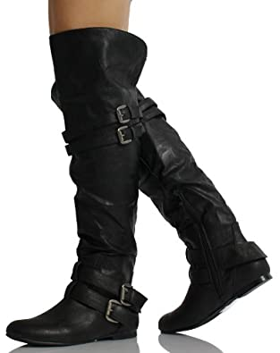 a6247835eea Black Leatherette Double Buckle Cuff Over the Knee High Heel Boots Vickie  16 HI