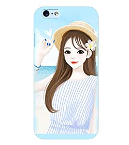 Printvisa Premium Back Cover Cute Girl On A Beach Design For Apple iPhone 6