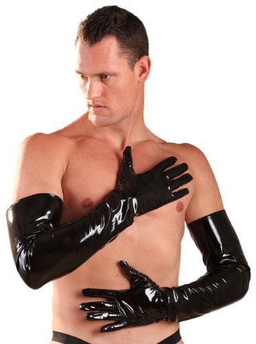 Honour | PVC Shoulder Length Gloves Black UK 12 (M) | Sexy Fetish Wetlook Wear