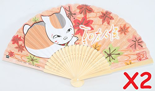 Chinese Japanese Silk Lace Floral Butterfly Wooden Cat Nyanko-sensei maneki-neko Paper Folding Hand Pocket Fans & Stand (D13399 Design may vary)