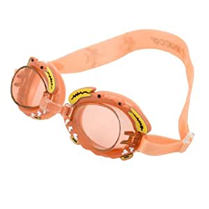 Adjustable Silicone Strap Clear Orange Lens Swimming Goggles Eyeglasses for Kids