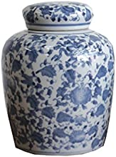 Large Round Blue and White Ceramic Ginger Jar with Lid