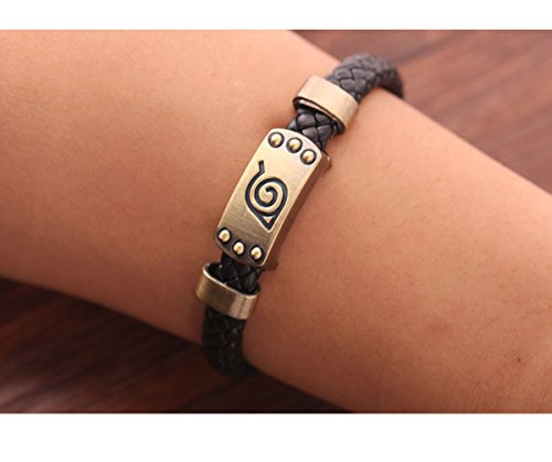 ProHome® Naruto Konoha Logo Symbol Cosplay Outfit Alloy Leather Magnetic Buckle Bracelet