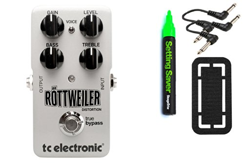 Tc Electronic Rottweiler Distortion Bundle - 4 Items: Stagetrix Setting Saver Pen, Stagetrix Pedal Fastener, 2X Hosa Patch Cables