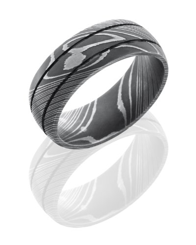 Stainless Steel, Etched Damascus Steel Wedding Band (sz 10)