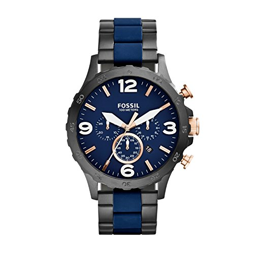 Fossil Nate-Reloj de pulsera con cronógrafo cuarzo, revestimiento de acero inoxidable jr1494