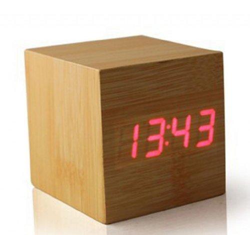 Jodying Cube Mini Sound Control Digital Clock Temprature Date And Clock With Red Led Wood Veneer