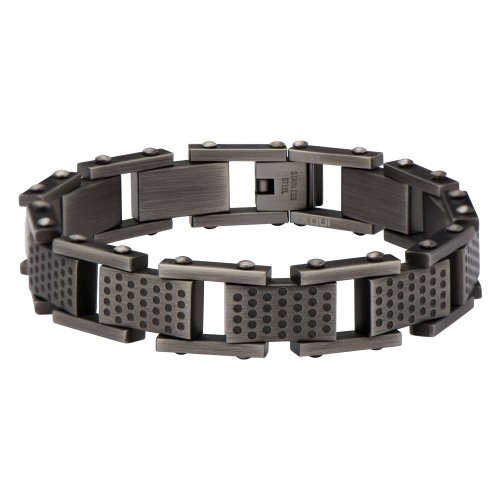 "Inox Men'S Stainless Steel Multi-Hole Gun Metal Finish Link Bracelet. (8"")"