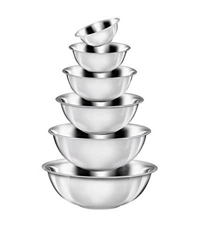 King Set 6 Cuencos De Acero Inoxidable 16, 20, 24, 28, 32 Y 36 cm Plata