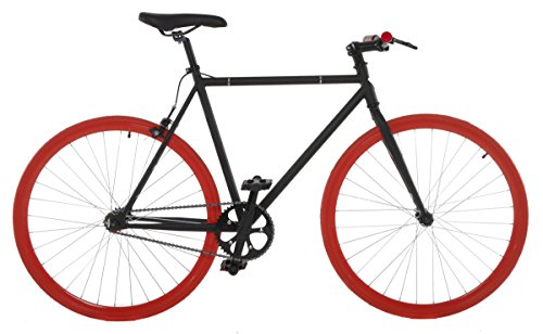 Vilano Fixed Gear Bike Fixie Single Speed Road Bike, Black/Red, 50cm/Small