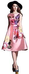 Clickedia Girl's & Women's Pure Japan satin Digital Print Pink Semi-Stitched Kurti
