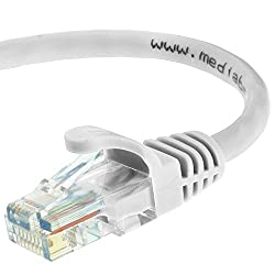 Mediabridge Cat5e Ethernet Patch Cable (100 Feet) - RJ45 Computer Networking Cord - White - (Part# 31-299-100B )