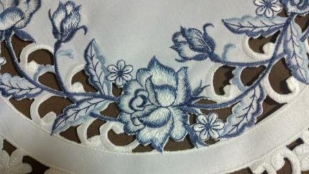 "72"" Table Runner Or Dresser Scarf With Blue Roses On Bleached White Maerial front-991916"