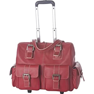 Jill-e 897596 Leather Rolling Camera Bag Large (Red)