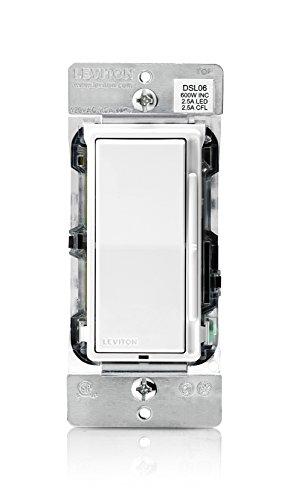 Leviton Dsl06-1Lz 300-Watt Led Decora Rocker Slide Universal Dimmer And Cfl/600-Watt Incandescent For Single Pole Or 3-Way, White