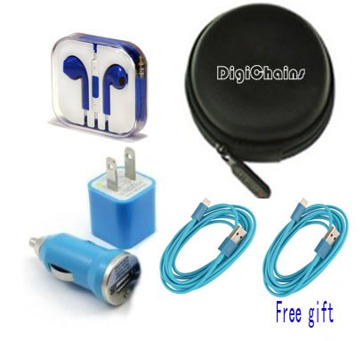 Digichains® 5-In-1(1Pcs Cable Free Gift) Earphone/Cable Hard Case/Bag + Earphone + Wall Charger + Car Charger+ 1M Length Usb Sync Data / Charging White Cable For Iphone 5 / 5C / 5S Ipad Mini Ipod Touch 5Th Gen