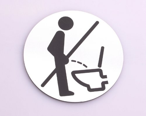 Bathroom Self-adhesive Sign with Metal Look & Instructional Image Do Not Urinate While Standing