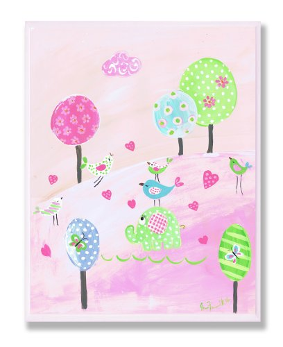 The Kids Room by Stupell Elephant and Birds with Lollipop Trees Rectangle Wall Plaque