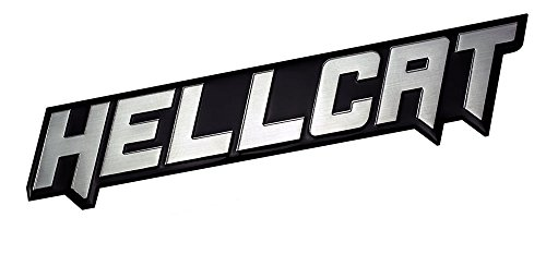 SILVER on BLACK Highly Polished Aluminum HELLCAT Hell Cat EMBLEM Badge Nameplate Logo Decal Rare for Dodge Challenger Charger 707 hp Horsepower 6.2L liter Supercharged HEMI V8 SRT SRT8 2dr 2 door (Dodge Challenger Hood Emblem compare prices)