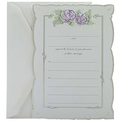 JAM Paper® Fill-In Wedding Invitation Set - Purple Rose with Metallic Border - 25/pack