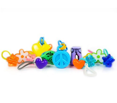 goloops! Mixed/girlie Assortment Charms for Rainbow Loom Bracelets- (14 Goloop Charms) - 1
