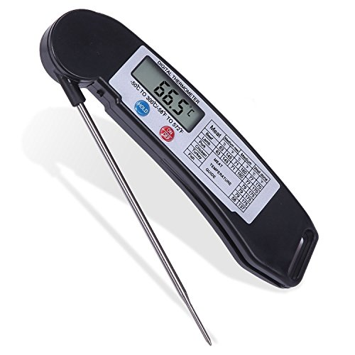 Thermomètre alimentaire, ucmda numérique ultra rapide de la viande/Candy termometer avec sonde longue et aimant pour cuisson de cuisine, des aliments, barbecue, volaille, liquides, Lait-Noir [pliable et portable]