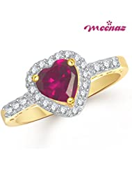 Meenaz Ruby Ring 24K Heart Ring IN FASHION RING Gold Ring For Girls & Women In American Diamond Cubic Zirconia...