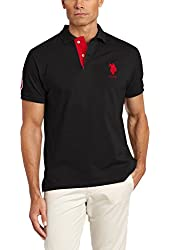 Men's Solid Polo Shirt with Contrast Striped Underside Of Collar