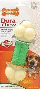 Nylabone Dura Chew Wolf Bacon Flavored Double Action Bone Dog Chew Toy