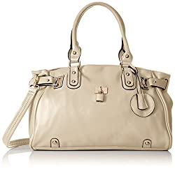 MG Collection Lucca Designer Inspired Glamour Shopper Tote Handbag, Beige, One Size