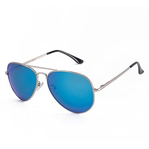 MT.MIT Classic Aviator Polarized Metal Frame Sunglasses 100% UV Protection(Silver_Blue) (Light Blue Sunglasses compare prices)