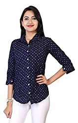 Comix Imported Cotton Fabric Elbow Sleeves Women Printed Casual Shirt