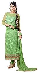 Fstore Green Embroidered Georgette Semistitched Salwar suit