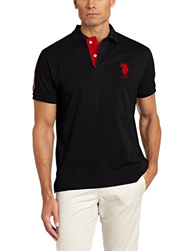 U.S. Polo Assn. Men's Slim Fit Solid Polo with Contrast Striped Underside Of Collar, Black, Medium (Us Polo Assn compare prices)