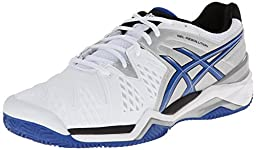 ASICS Men\'s Gel-Resolution 6 Clay Court Tennis Shoe,White/Blue/Silver,6.5 M US