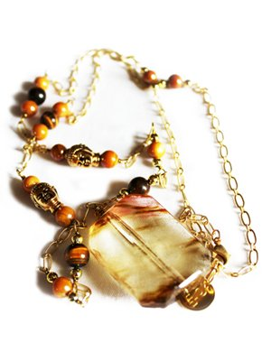 Urban Hippie Amber polished stone pendant necklace with Buddha features and tiger's eye beads
