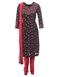 Azra Jamil Fine Cotton Multicolor Sequined Hand Work Traditional Churidar Suit For Women