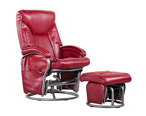 Shermag Swivel Glider Recliner and Ottoman, Red Bonded Leather - 1
