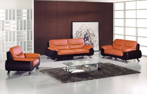 Cheap new 3pc contemporary modern leather sofa set am for Cheap modern furniture amazon