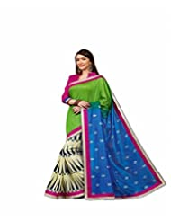 Vipul Salem Silk Green Traditional Foil Print Saree With Zari Border And Pink Lace