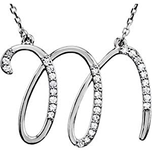 IceCarats Designer Jewelry Sterling Silver Diamond Initial Necklace