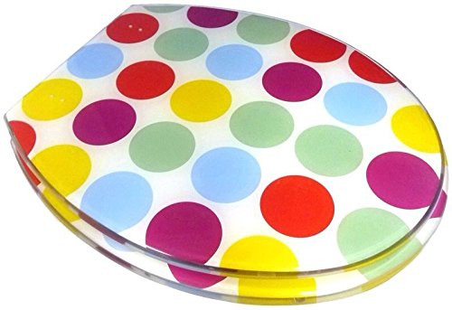 FUNKY-MULTI-COLOURED-POLKA-DOT-SPOT-SPOTTY-RESIN-TOILET-SEAT