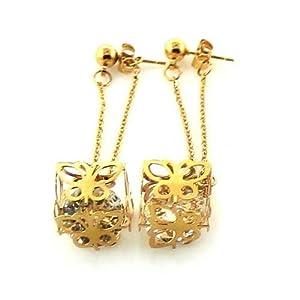 Edelstahl Farbe Gold Ohrring mit Stein (Goldfarben)