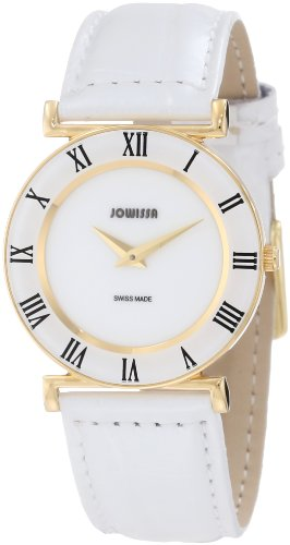Jowissa Women's J2.027.M Roma 30 mm Gold PVD White Leather Roman Numeral Watch
