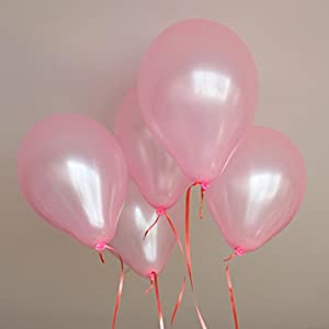 "Pack of 100pcs 10"" Pink Latex Party Balloons Pearl Helium Wedding Birthday Celebration Party Balloons"