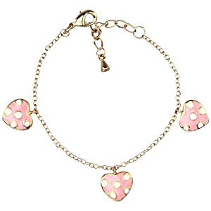 Pink and White Enamel Dot Hearts Yellow Gold-Tone Link Charm Bracelet 5""