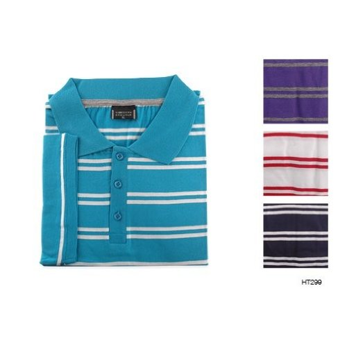 Mens Striped Summer Polo T-Shirt/Top (M Chest 39-41inch (99-104cm)) (Purple and Grey)
