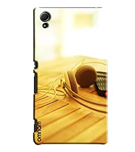 Omnam Headphones Lying On Table Printed Designer Back Cover Case For Sony Xperia Z4