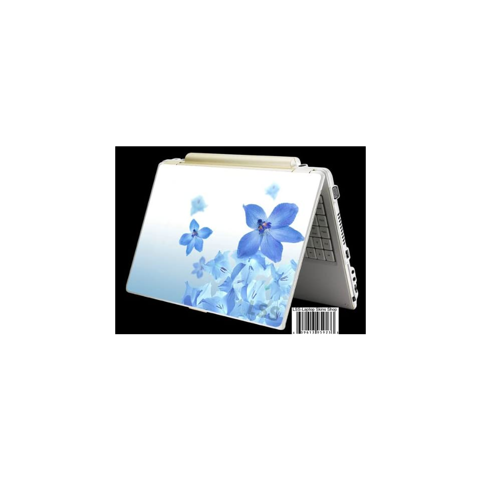Laptop Skin Shop Laptop Notebook Skin Sticker Cover Art Decal Fits 13.3 14 15.6 16 HP Dell Lenovo Asus Compaq (Free 2 Wrist Pad Included) Blue Neon Flower